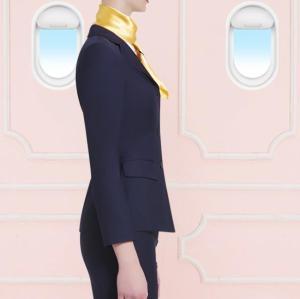 纽扣纯色飞行员上衣配裙子套装