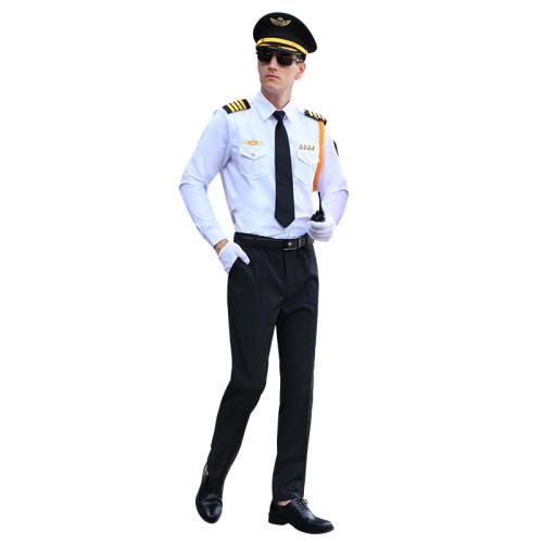 Men's Airline Pilot Costume   Airline Uniforms Pilot Shirt With Pants Set   Short Sleeve Pilot Shirt Solid Spread Collar