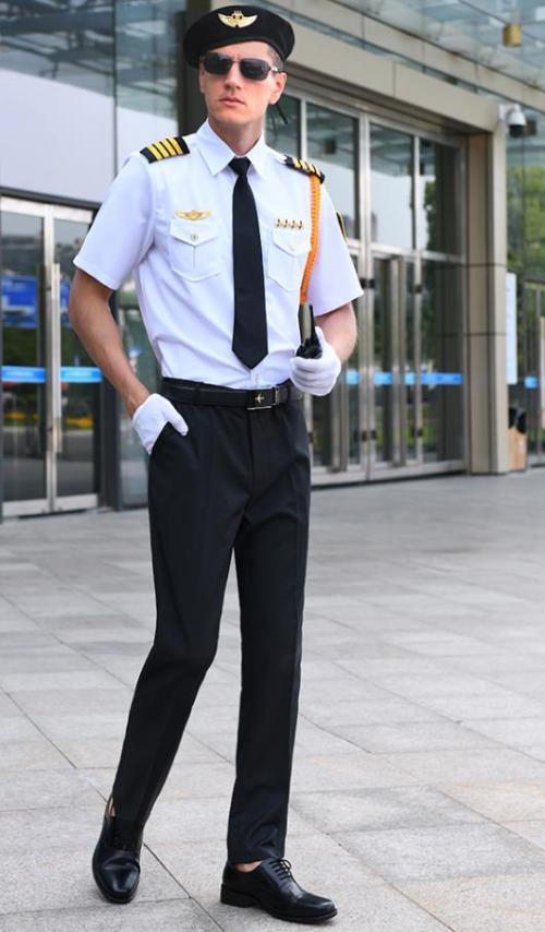 时尚飞行员衬衫配裤子套装