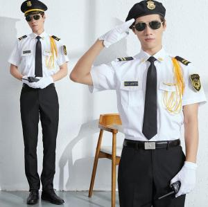 White Security Uniforms | Shirts With Pants Sets Safety Uniforms | Custom Logo Guard Uniforms | Free Samples Of China Factory