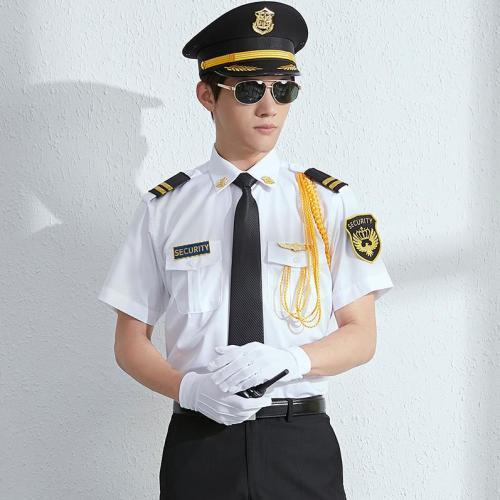 定制白色保安制服衬衫配裤子套装