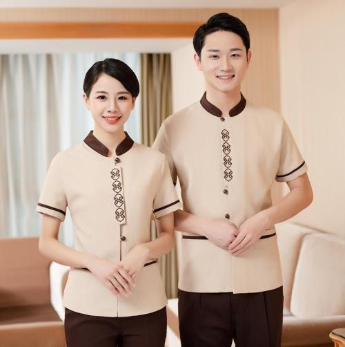 Unisex Hotel Uniforms Housekeeping | Short Sleeve Contrast Collar Hotel Worker Uniforms | Custom Hotel Uniforms With Logo