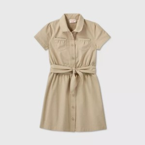 Girls' Short Sleeve Shool Uniform Safari Dress For Students