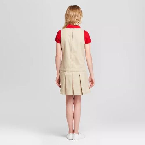 女童校服梭织套头衫带徽标夏季服装