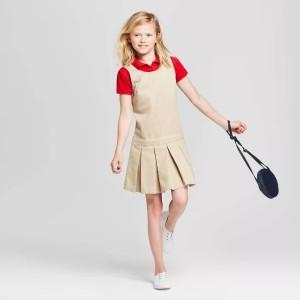 Girls' School Uniform Woven Jumper Summer Clothing With Logo