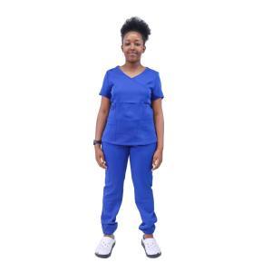 V-Neck  Nurse Scrub Top With Pants Set