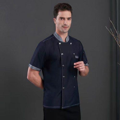 Unisex Catering Uniforms | Short Sleeve Denim Jackets Work Catering Uniforms | Quality Catering Uniforms Wholesale