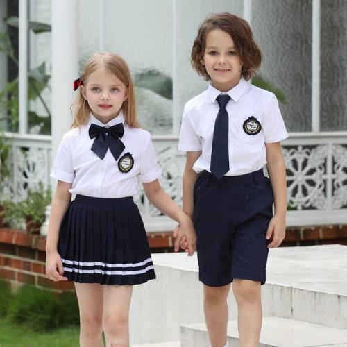 定制男孩和女孩白衬衫小学中学学前班制服设计为孩子们