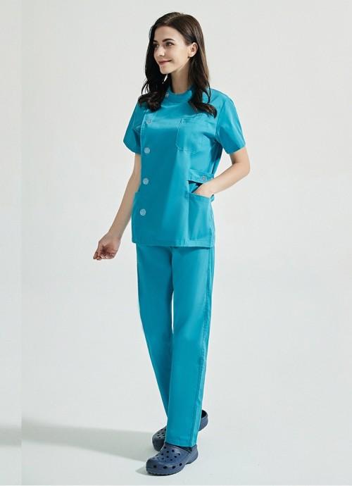 Uniforms For Beauty Salon | Short Sleeved Single Row Buttons Spa Uniforms | Custom Beauty Salon Uniforms With Logo