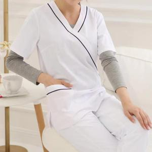 Womken's Spa Work Uniforms | V-neck Short Sleeve Salon Uniforms Sets | Spa And Beauty Uniforms Custom Wholesale