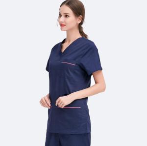Spa Attendant Uniform For Women   V-neck Short Sleeve Navy Blue Cotton Spa Uniform   Spa And Salon Uniforms Wholesale