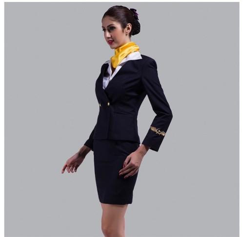 为空姐定制的高品质航空制服外套和裙子套装