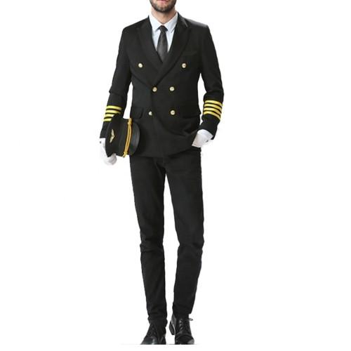 Pilot Uniforms Costume For Men | Long Sleeve Pilot Uniforms Coat And Shirts With Pants | Custom Pilot Wears Uniforms