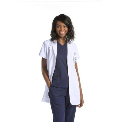 男女通用的实验室外套和磨砂膏 | White Lab Coats 短袖 Professional |透气实验室外套定制