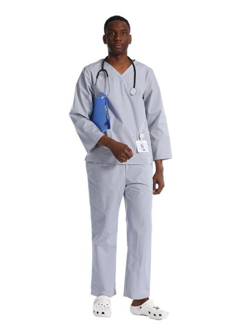 男士灰色磨砂制服  V 领长袖磨砂医院制服  高品质磨砂制服批发