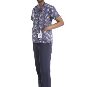 男士印花磨砂制服| V 领短袖印花磨砂上衣 |中国磨砂制服制造商
