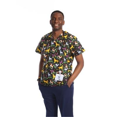 Printed Medical Scrub Tops | V-neck Short Sleeve | Quick Dry Breathable Medical Scrubs Custom