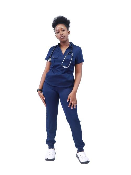 为护士擦洗医院制服 | V 领磨砂制服上衣和慢跑裤 |护士磨砂医院制服批发