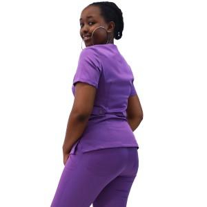 女式磨砂医院制服| V 领短袖 4 向弹力磨砂制服套装 |磨砂护士制服批发