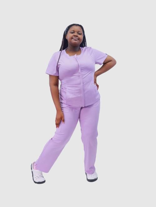护士大码磨砂制服 短袖隐形拉链磨砂制服  4 Way Stretch Scrub 医院制服定制