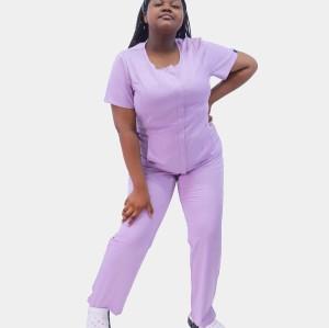 Plus Size Scrub Uniforms For Nurses | Short Sleeve Invisibly Zip Up Scrub Uniforms | 4 Way Stretch Scrub Hospital Uniform Custom