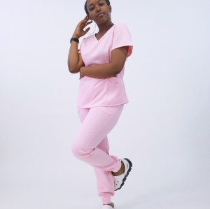 护士磨砂套装 |实心短袖抽绳磨砂套装 |弹力超软医用制服批发