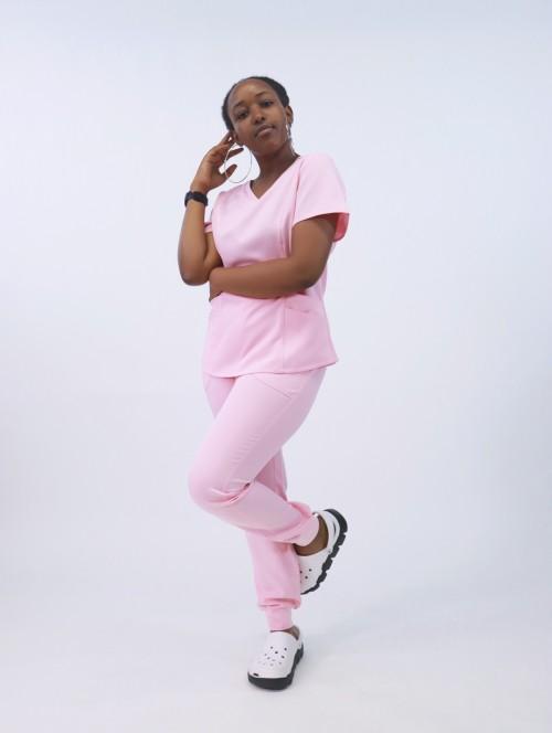 护士磨砂套装  实心短袖抽绳磨砂套装  弹力超软医用制服批发