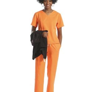 护理制服磨砂套装带背心 |橙色短袖抽绳磨砂套装|批发护士工作服