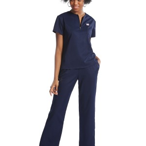 Scrub Uniform Sets For Nurses | Zip Half Placket Short Sleeve Elastic Scrub Hospital Uniforms | Quality Scrub Uniforms Custom