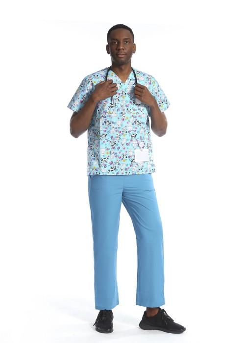 印刷医用磨砂套装 弹力 V 领医用印花磨砂上衣  医用磨砂上衣和裤子批发