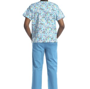 Printed Medical Scrub Set | Stretchy V-Neck Medical Print Scrub Top | Medical Scrub Tops And Pants Wholesale