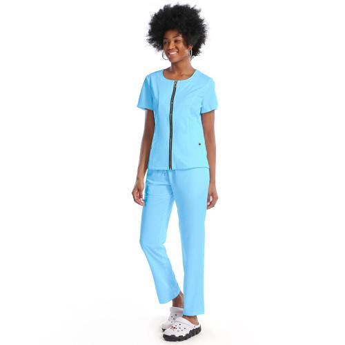Women's Scrub Uniforms   Slant Pocket Zip Up Hospital Uniforms   Loose Cotton Hospital Pants   Custom Medical Uniforms