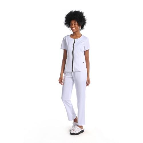 Women's Scrub Uniforms | Slant Pocket Zip Up Hospital Uniforms | Loose Cotton Hospital Pants | Custom Medical Uniforms