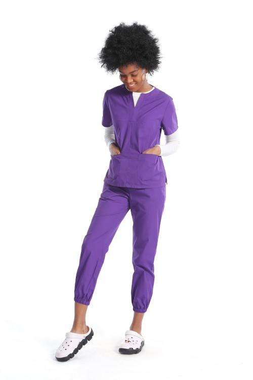 Women Scrub Uniforms For Nurses   Patch Short Sleeve Scrubs Top   Ankle-tied Jogger Pants   Comfortable Scrub Uniforms Wholesale
