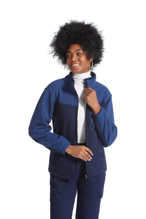 Scrub Jackets For Women   Navy Blue Zip-up Scrub Jackets   Slim Jogger Pants   Custom Medical Uniforms With Logo Wholesale