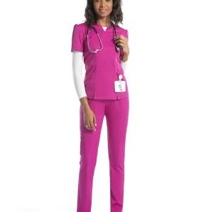 女式磨砂制服套装|缺角 V 领磨砂上衣和修身裤 |批发时尚护士制服