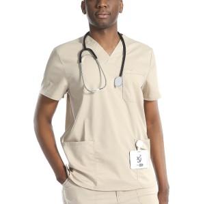 Men's Scrub Uniform Sets | 7 Pockets V-neck Short Sleeve Scrub Tops&Loose Scrub Pants | Wholesale Medical Uniforms Scrubs