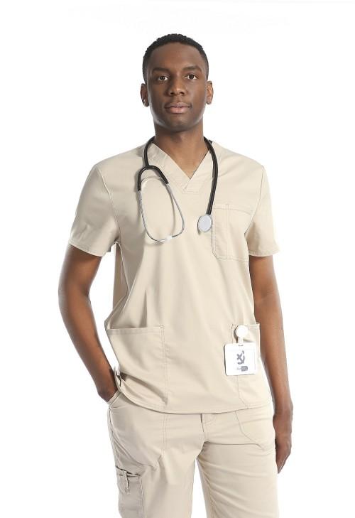男士磨砂制服套装| 7 口袋 V 领短袖磨砂上衣和宽松磨砂裤 |批发医用制服磨砂膏