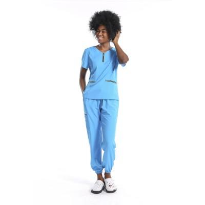 女士弹力磨砂制服套装 |纯色半拉链磨砂上衣和慢跑裤| SHOPBOP定制医疗制服批发