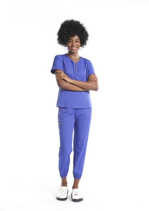 Women's Stretch Scrubs Uniforms Sets | Solid Half Zip Scrub Tops & Jogger Pants | Custom Medical Uniforms Wholesale