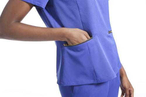 女士弹力磨砂制服套装  纯色半拉链磨砂上衣和慢跑裤  SHOPBOP定制医疗制服批发
