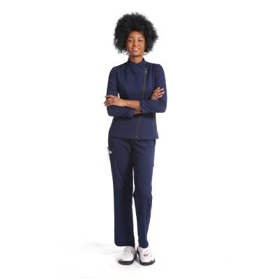 新设计磨砂制服套装 |拉链长袖修身磨砂上衣和宽松裤 |优质医用制服批发