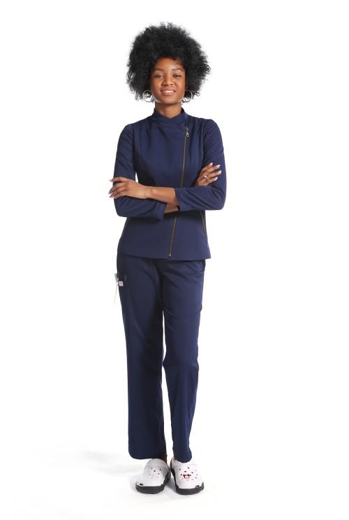 新设计磨砂制服套装  拉链长袖修身磨砂上衣和宽松裤  优质医用制服批发