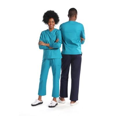 护士男女通用防水磨砂制服| 8 口袋长袖磨砂制服套装 |磨砂制服批发