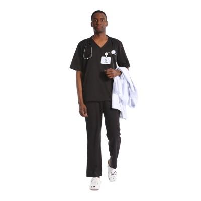 男士优质医疗制服 | V 领短袖弹力磨砂制服套装 |批发便宜的磨砂制服