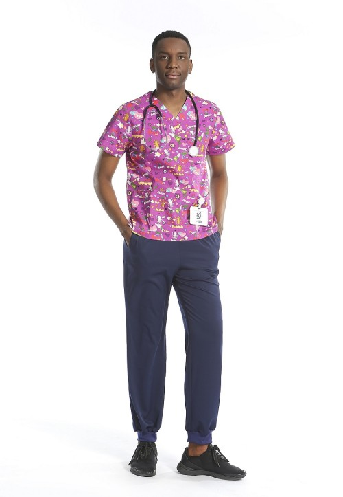 Men's Printed Scrub Uniforms | V-neck Short Sleeve Printed Scrub Tops | Wholesale Scrub Sets Affordable