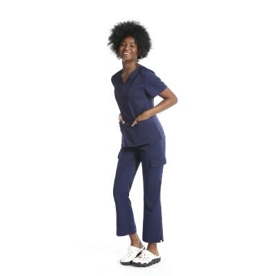 时尚女士磨砂制服折扣 | 10 口袋弹力磨砂制服套装 |优质磨砂制服批发