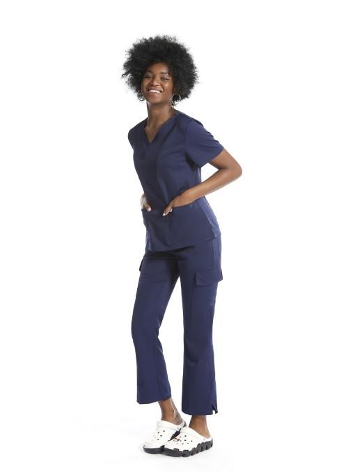 时尚女士磨砂制服折扣   10 口袋弹力磨砂制服套装  优质磨砂制服批发
