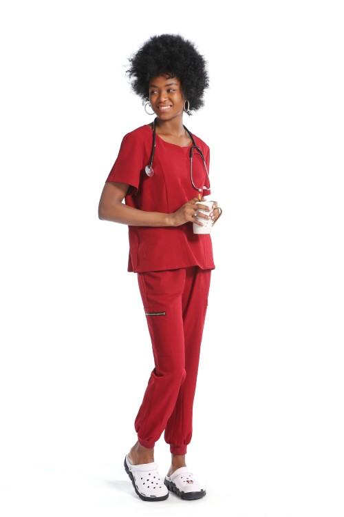 Women's Scrub Nurse Uniforms | 6 Pockets Short Sleeve Scrub Uniforms For Nurses | Wholesale Scrub Uniforms Stylish