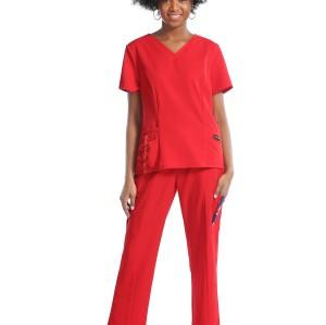 女式定制磨砂护士制服 |护士固体磨砂制服|定制时尚磨砂制服批发